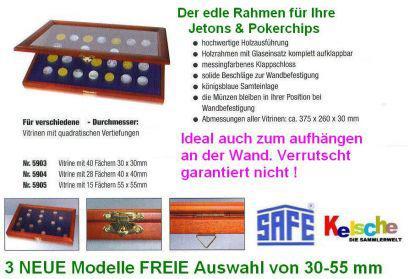 SAFE 5904 Echtholz Sammelvitrinen Vitrinen mit Echtglass Sichtfenster 28 Fächer bis 40 mm Jetons Pokerchips Casinochips Wertmarken Spielgeld