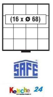 SAFE 6104 BEBA SCHUBLADEN Schuber 16 quadratische Fächer 68 mm für Maxi Münzkasten