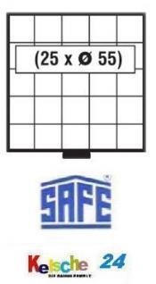 SAFE 6105 BEBA SCHUBLADEN Schuber 25 quadratische Fächer 55 mm für Maxi Münzkasten