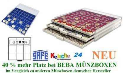 SAFE BEBA MÜNZBOXEN MB6103B BLAU 9 Fächer 93 mm NEU