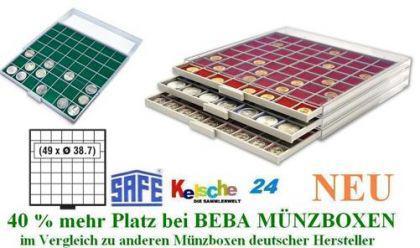 SAFE BEBA MÜNZBOXEN MB6107G GRÜN 49 Fächer 38,7 mm