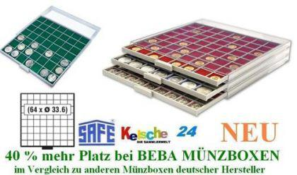SAFE BEBA MÜNZBOXEN MB6108G GRÜN 64 Fächer 33,6 mm