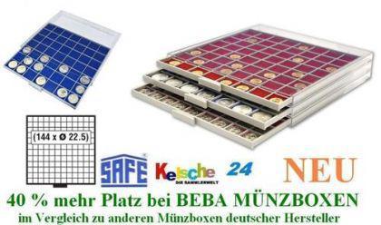 SAFE 6612 B BEBA MÜNZBOXEN MB 144 quadratische Fächer 22,5 mm + blaue Filzeinlagen