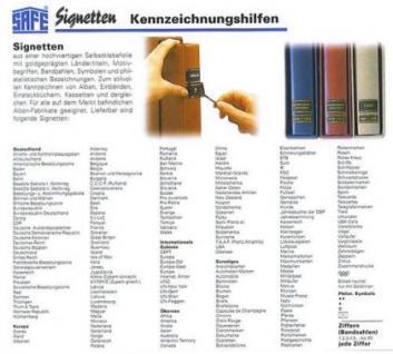 100 x SAFE SIGNETTEN freie Auswahl - Liste Gratis - Vorschau