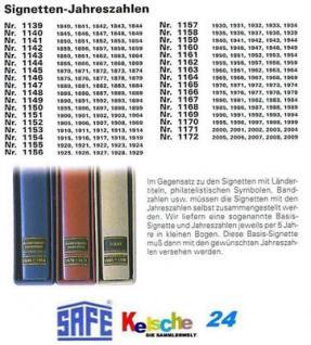 SAFE 1170 SIGNETTEN Jahreszahlen Year dates 1995 1996 1997 1998 1999