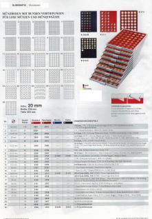 LINDNER 2745 MÜNZBOXEN Münzbox Rauchglas 45 quadratische Vertiefungen von 24 - 28 - 39 - 44 mm Münzen - Vorschau 2