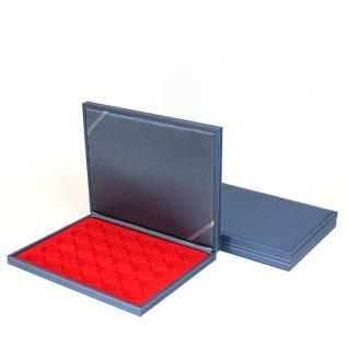 LINDNER S2381-2537E Nera M AZUR Münzkassetten Einlage Hellrot Rot für 30 x Münzen bis 37 mm & 10 & 20 Euro DM in orig. Münzkapseln 32, 5 PP