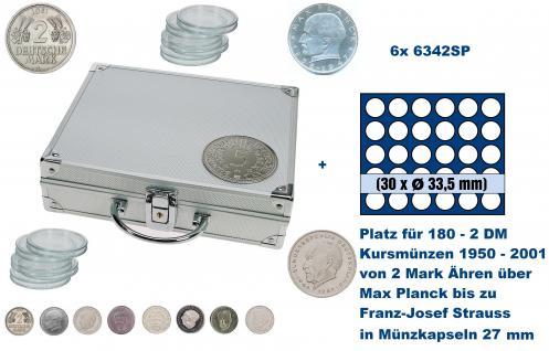 SAFE 235 - 6342 ALU Länder Münzkoffer SMART BR. Deutschland Kursmünzen 2 DM mit 6 Tableaus 6328 Für 210 - 2 Deutsche Mark Kursmünzen von 1950 - 2001 in Münzkapseln 27 mm