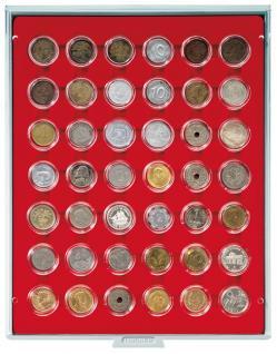 LINDNER 2529 Münzbox Münzboxen Standard Grau für 42x 5 / 20 Cent 1 EURO 1 DM 5 ÖS in Münzkapseln - Vorschau 1