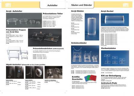 4 x Set SAFE 5283-1 5280 + 5281 + 5282 + 5283 Runde ACRYL Präsentationsteller Deko Aufsteller 100 - 240 mm Für Schaufenster Fenter Vitrinen Bürodekoration - Vorschau 3
