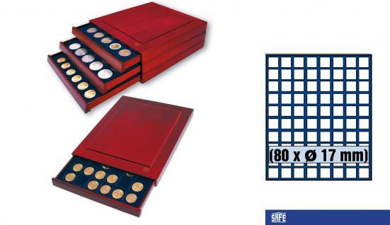 SAFE 6817 Nova Exquisite Holz Münzboxen Schubladenelement 80 Eckige Fächer x 17 mm Für 1 Pf 1 Cent € Euro