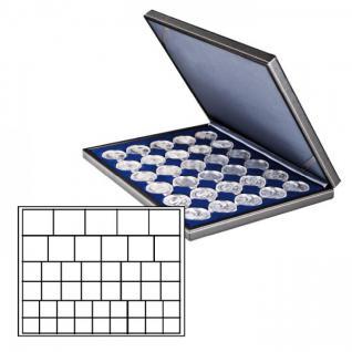 LINDNER 2364-2145ME Nera M Münzkassetten Marine Blau Mixed für 45 x Münzen - 24, 28, 39, 44 mm die Starter Box