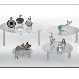 4 x Set SAFE 5283-1 5280 + 5281 + 5282 + 5283 Runde ACRYL Präsentationsteller Deko Aufsteller 100 - 240 mm Für Schaufenster Fenter Vitrinen Bürodekoration - Vorschau 1