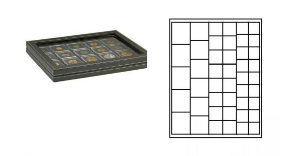 LINDNER 2367-2145CE Nera M PLUS Münzkassetten Carbo Schwarz mit glasklarem Sichtfenster Mixed für 45 x Münzen - 24, 28, 39, 44 mm die Starter Box