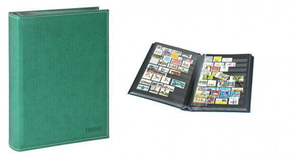 Lindner 1195 - G Briefmarkenalbum Einsteckbücher Einsteckbuch Diamant Grün 60 schwarze Seiten klare Streifen + klare Folien ZWL