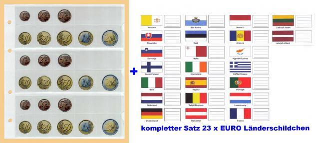 10 KOBRA FE24 Münzblätter Münzhüllen + weiße Zwischenblätter Für 3 komplette Euro KMS Kursmünzensätze + 23 Länderschildchen mit Flaggen Andorra - Zypern