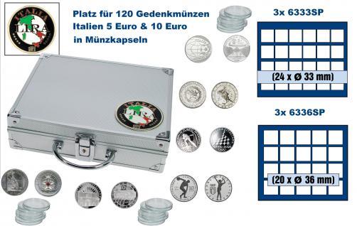 SAFE 232 ALU Länder Münzkoffer SMART Italien / Italia / Italy 3 Tableaus 6338 & 3x 6341 Platz für 120 - 5 und 10 Euro Gedenkmünzen in Münzkapseln / 120 soggetti monete commemorative in capsule per monete Italia