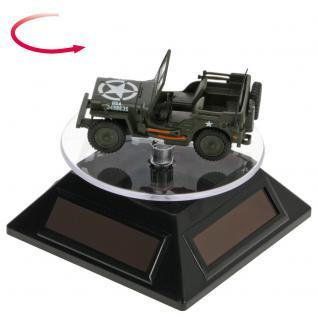SAFE 5332 Solarbetriebene Drehbarer Deko Drehteller Display Ständer Präsentierteller 90 mm Schwarz Für Schmuck - Uhren - Antiquitäten - Mineralien - Fossilien - Figuren - Modellbau