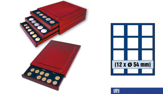 SAFE 6854 Nova Exquisite Holz Münzboxen Schubladenelement 12 Eckige Fächer x 54 mm Für Münzen bis 54 mm - in Münzkapseln bis 49 mm - Australien Lunar Serie II in Kapseln