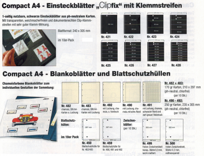 10 SAFE 423 Einsteckblätter Compact A4 CLIPFIX mit 3 Klemmstreifen 210 x 86 mm Für Banknoten Blocks Briefe Briefmarken - Vorschau 2
