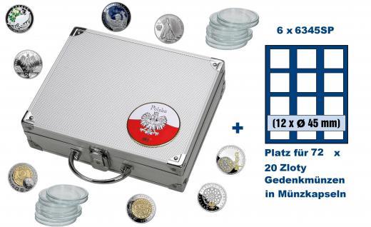 SAFE 244 - 6345 ALU Münzkoffer SMART Polen / Polska mit 6 Tableaus 6345 für 72 - 20 Zloty Gedenkmünzen in Münzkapseln 38, 6 - 39 mm / monet w kapsulkach 38, 6 - 39 bezramkowych mm