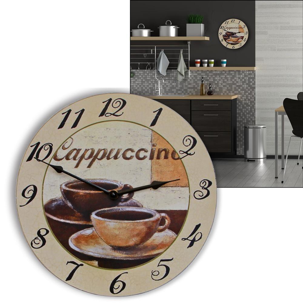 wanduhr cappuccino italienische impressionen 2 cappuccino tassen trendige k chenuhr modernes. Black Bedroom Furniture Sets. Home Design Ideas