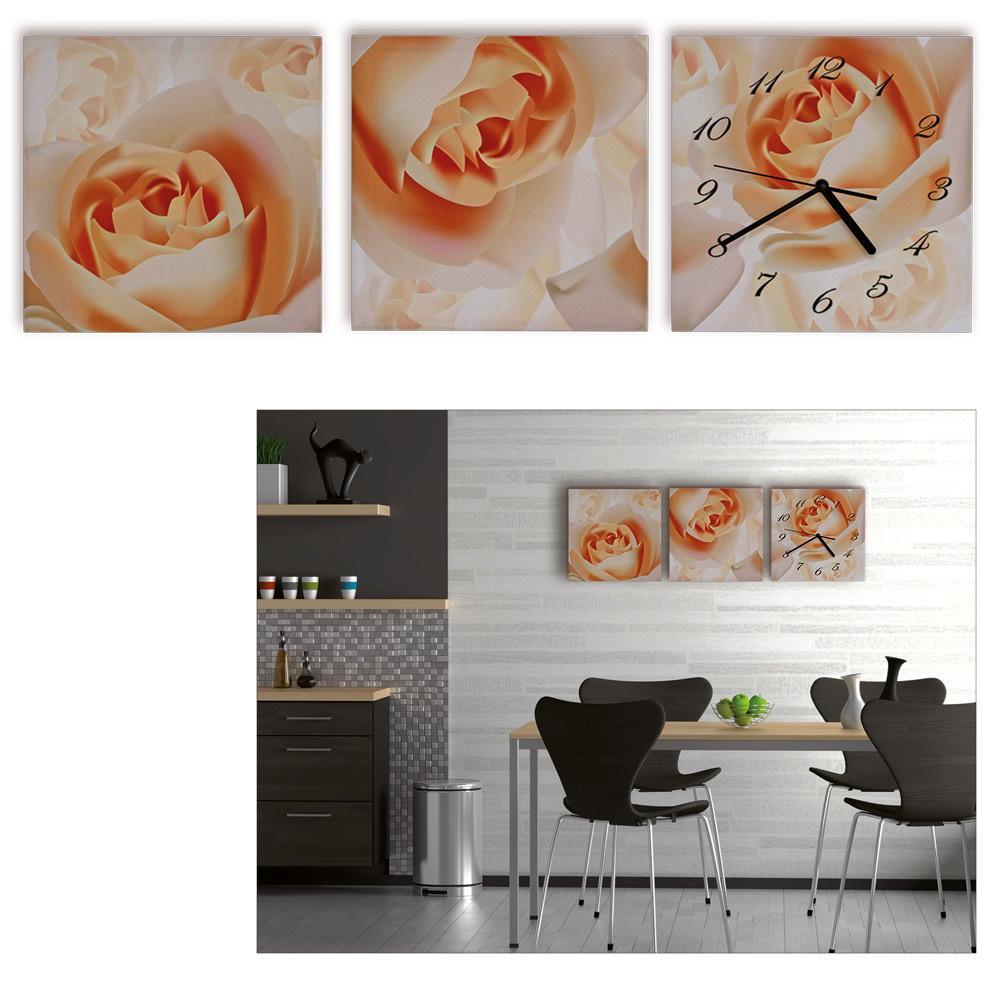 3 teilige leinwandbilder mit wanduhr aufh nge fertig kunstdruck die welt der rosen blumen. Black Bedroom Furniture Sets. Home Design Ideas