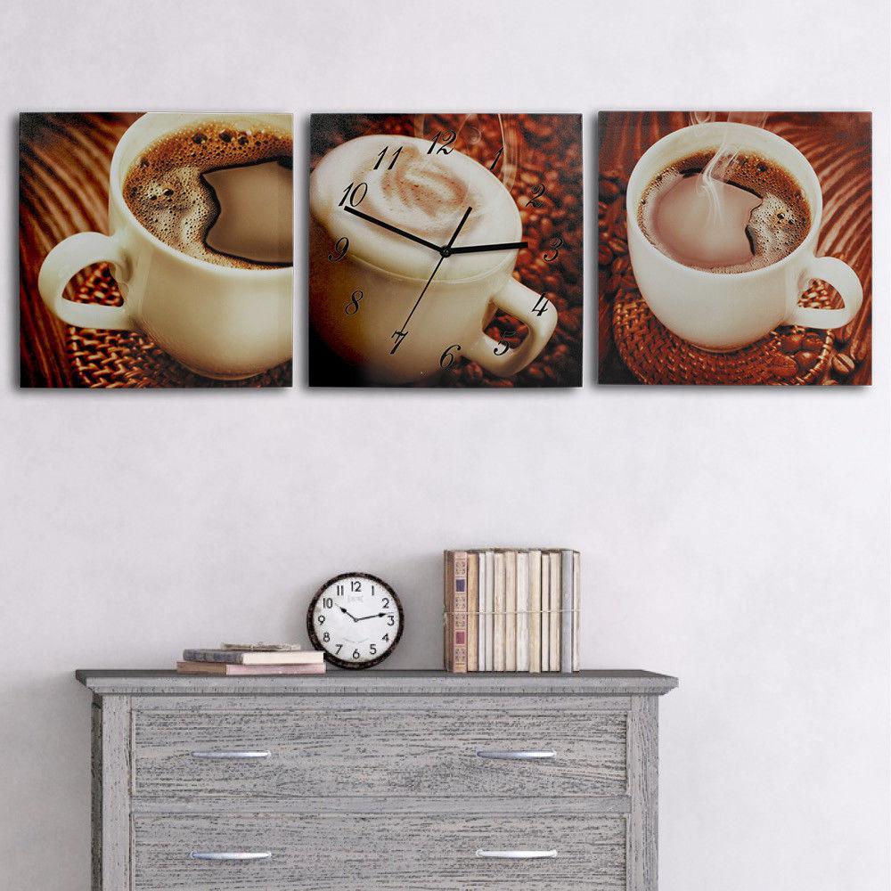 klassische 3 teilige tryptichon leinwandbilder mit wanduhr. Black Bedroom Furniture Sets. Home Design Ideas