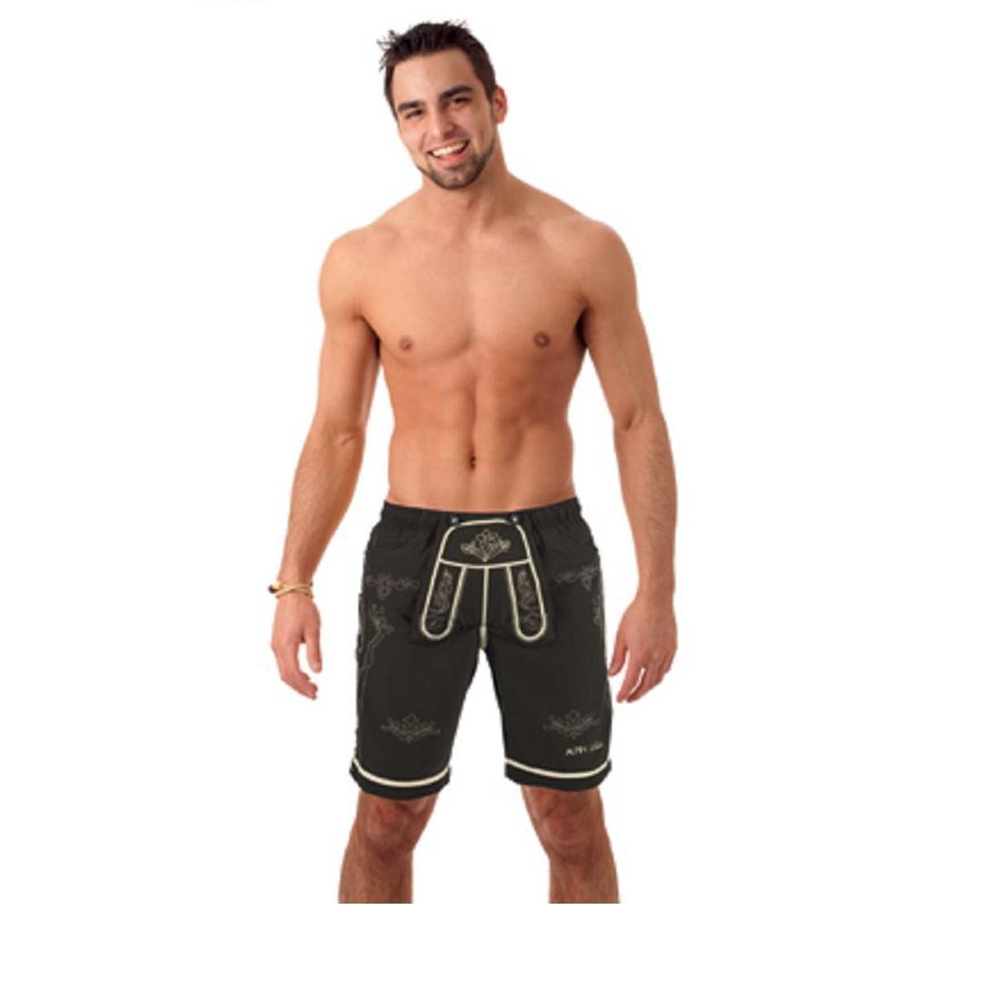 alpin bayrische trachten badehose trachten shorts badeshorts lederhosen optik herren gr 54 xl. Black Bedroom Furniture Sets. Home Design Ideas