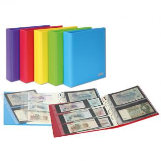 LINDNER S3540BN - 9 - Solind Gelb MULTI COLLECT Banknotenalbum PUBLICA M COLOR + 10 Blätter Mixed 2er & 3er Teilung