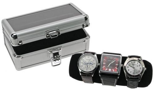 SAFE 254 ALU Uhrenkoffer TRAVEL Schwarz mit Samtrolle für 3 Uhren Damen Herren Armbanduhren Schmuck
