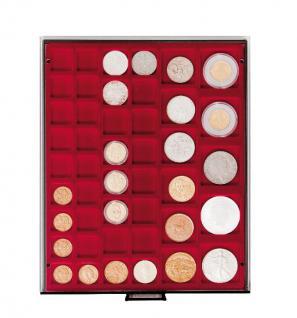 LINDNER 2745 MÜNZBOXEN Münzbox Rauchglas 45 quadratische Vertiefungen von 24 - 28 - 39 - 44 mm Münzen - Vorschau 1