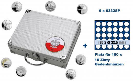 SAFE 244 - 6332 ALU Münzkoffer SMART Polen / Polska mit 6 Tableaus 6332 für 180 - 10 Zloty Gedenkmünzen / monety okolicznosciowe