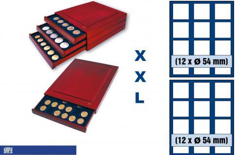SAFE 6854 XXL Nova Exquisite Holz Münzboxen Schubladenelement 2 Tableaus 6354 und 24 Eckige Fächer x 54 mm Für Münzen bis 54 mm - in Münzkapseln bis 49 mm - Australien Lunar Serie II in Kapseln