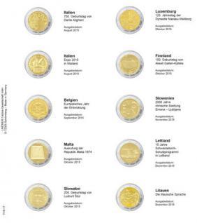 1 x LINDNER 1118-17 Vordruckblatt + K3 Karat Blatt - 2 EURO Gedenkmünzen August - Dezember / Litauen 2015