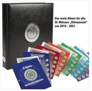 SAFE 7360 PREMIUM Münzalbum Deutsche 5 Euro Münzen Blauer Planet Erde Gedenkmünzen komplette + 6 Münzblätter & Vordruckblätter 2016 - 2017 - 2018 - 2019 - 2020 - 2021