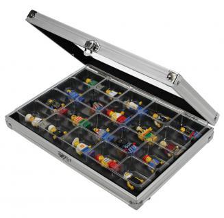 SAFE 5617 ALU Sammelvitrinen Vitrinen Setzkasten Compact mit 20 Fächern 36 x 49 x 40 mm Maße 295 x 203 x 45 mm Für alle Sammlerstücke von A - Z