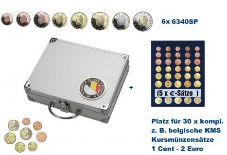 SAFE 239 - 6340 ALU Länder Münzkoffer SMART Belgien / Belgique / Belgie / Belgium mit 6 Tableaus für 30 kompltte Euromünzen KMS Kursmünzensätze 1, 2, 5, 10, 20, 50 Cent 1 - 2 Euro