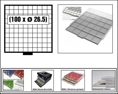 SAFE 6610-6 BEBA MÜNZBOXEN 100 quadratische Fächer 26, 5 mm + weißen Karton Eionlagen Für 50 Euro Cent, 1 Euro, 2 Euro Gedenkmünzen & Münzkapseln bis Caps 20