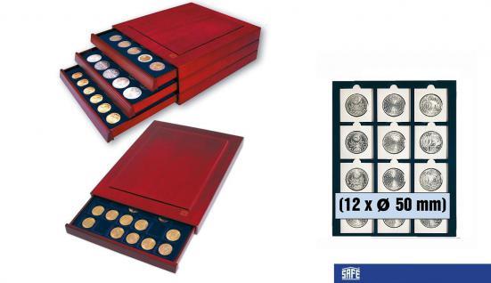 SAFE 6850 Nova Exquisite Holz Münzboxen Schubladenelement 12 x 50 mm Für Münzrähmchen Standard - Münzen bis 50 mm - Octo Carree Quadrum Münzkapseln