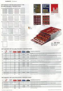 LINDNER 2745 MÜNZBOXEN Münzbox Rauchglas 45 quadratische Vertiefungen von 24 - 28 - 39 - 44 mm Münzen - Vorschau 4