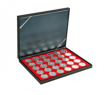 LINDNER 2364-2226E Nera M Münzkassetten Einlage Hellrot Rot für 30 x Münzen bis 39 mm & 10 Euro DM in Münzkapseln 33 mm