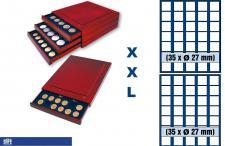 SAFE 6827 XXL Nova Exquisite Holz Münzboxen Schubladenelement mit 2 Tableaus 6327 und 70 Eckige Fächer 27 mm Für 2 Euro DM CHF Sloty - viele 1/2 Oz Unzen Goldmünzen