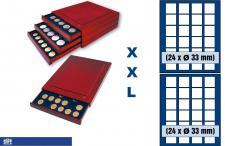 SAFE 6833 XXL Nova Exquisite Holz Münzboxen Schubladenelemente mit 2 Tableaus 6333 und 48 Eckige Fächer 33 mm Für Münzen bis 26 - 27 - 28 mm in Münzkapseln und 10 DM 10 - 20 Euro Gedenkmünzen