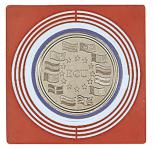 2 x LINDNER 2637 Münzbox Inletts quadratisch 68 x 68 mm große Münzkapseln dunkelrot Münzen bis 62 mm