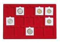 1 x LINDNER 2329-15 Münztableaus 50 x 50 mm - 15 x Münzrähmchen Octo Quadrum Münzkapseln Münzen Rot