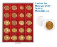 LINDNER Set 2122 Standard Grau Münzbox Münzboxen 20 x 50 mm + 20 OCTO Münzkapseln Freie Auswahl