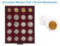 LINDNER Set 2722 Rauchglas Münzbox Münzboxen 20 x 50 mm + 20 OCTO Münzkapseln Freie Auswahl
