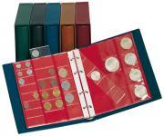 LINDNER 1106M - G Münzalbum Album Karat GRÜN + 10 Münzblättern Mixed + roten Zwischenblättern