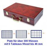 SAFE 169 MIXED Holz Münzkoffer Premium im Wurzelholz Design 6 Tableaus für über 300 Münzen